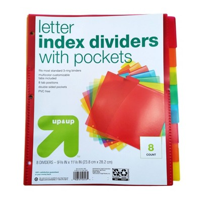 8ct Tabbed Plastic Index Dividers with Pockets - up & up™