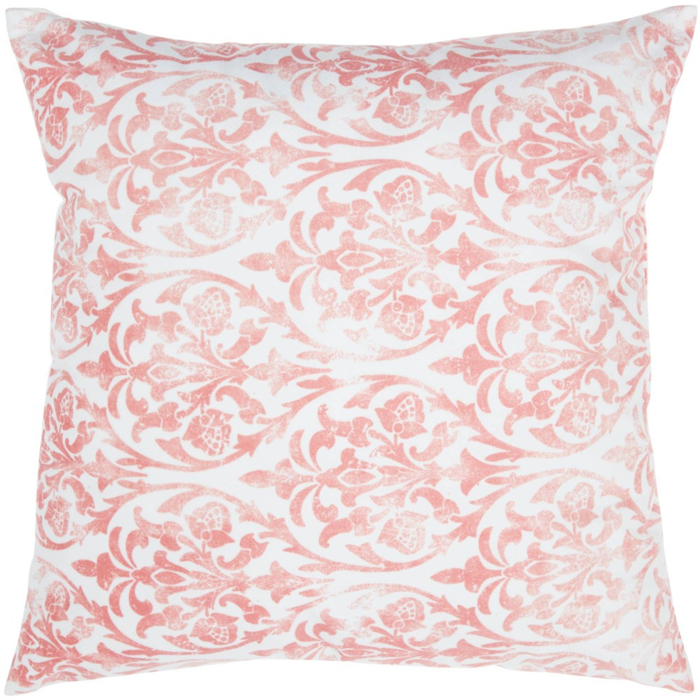 Image of Life Styles Faded Damask Oversize Square Throw Pillow Coral - Nourison, Pink