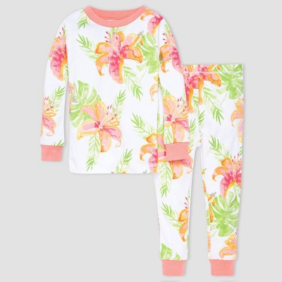 Burt's Bees Baby® Girls' 2pc Tropical Floral Pajama Set - Light Orange