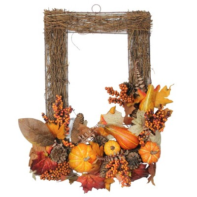 """Northlight 24"""" Brown and Orange Pine Cone Thanksgiving Decorative Wall Frame"""