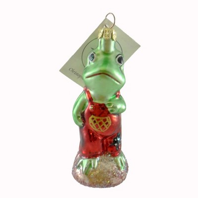 Christopher Radko Froggy Child Ornament Red Overalls  -  Tree Ornaments