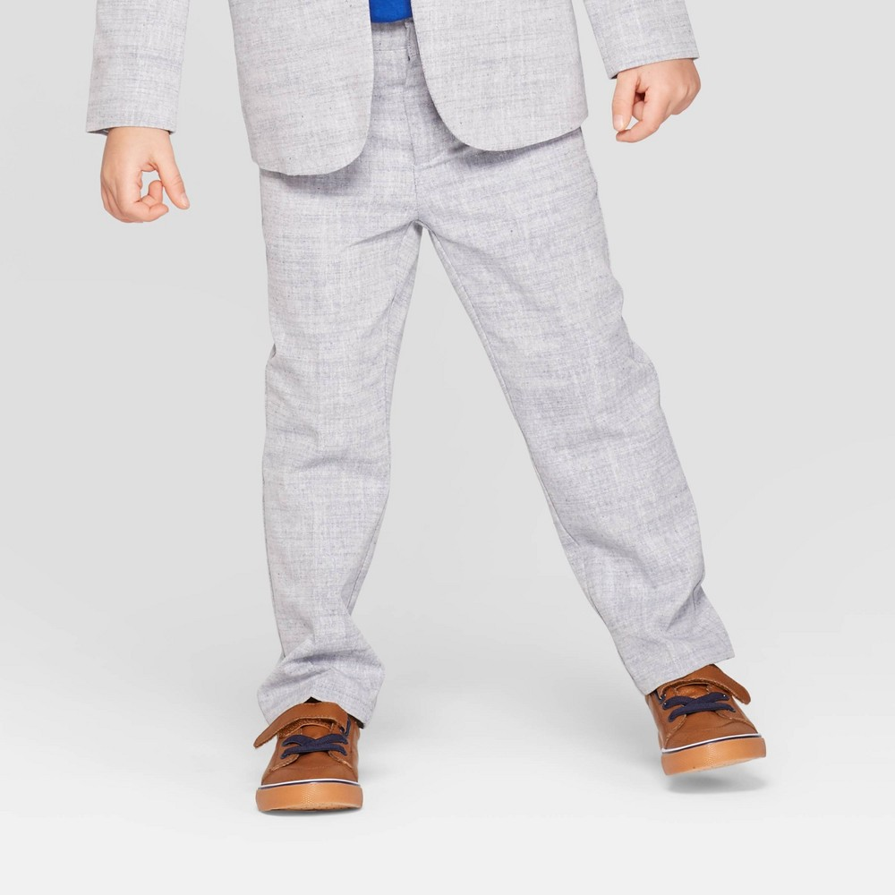 Toddler Boys' Chambray Chino Suit Pants - Cat & Jack Gray 3T