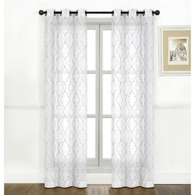 Kate Aurora Living Metallic 2 Pack Bryson Matte Sheer Embroidered Grommet Top Curtain Panels