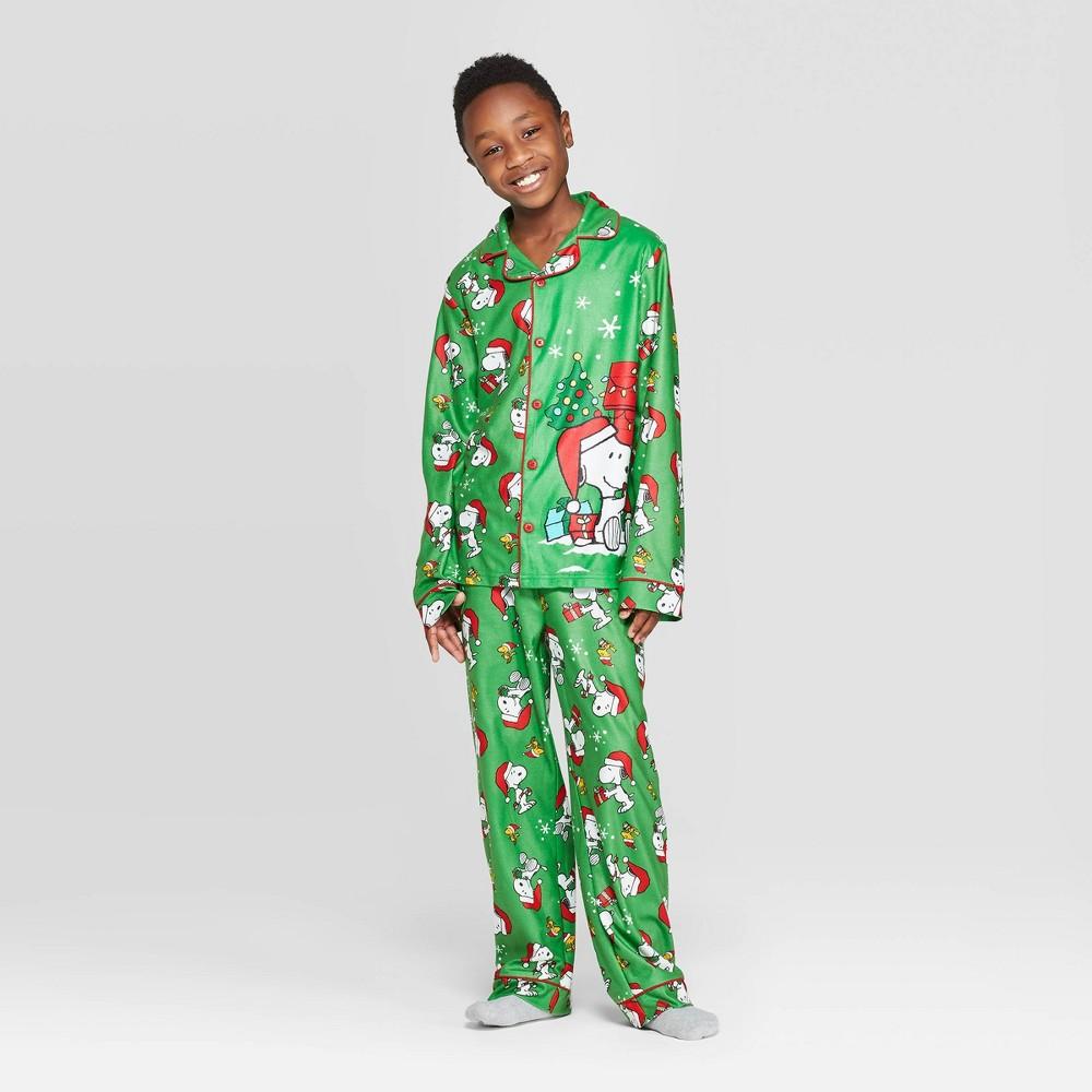 Image of Boys' Peanuts 2pc Coat Pajama Set - Green L, Boy's, Size: Large