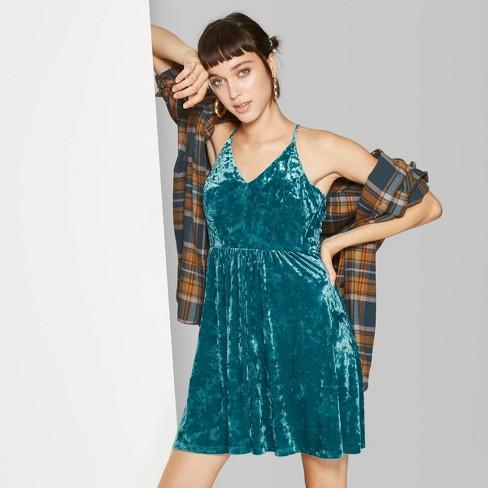 Women's Sleeveless V-Neck Velvet Skater Dress - Wild Fable™  - image 1 of 3