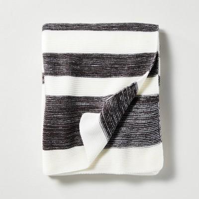 Color Block Stripe Throw Blanket Dark Gray/Sour Cream - Hearth & Hand™ with Magnolia