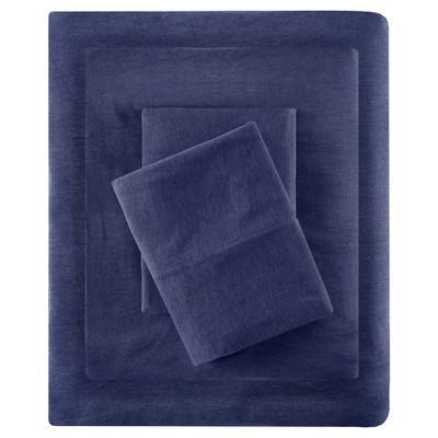 Queen Cotton Blend Jersey Knit All Season Sheet Set Navy