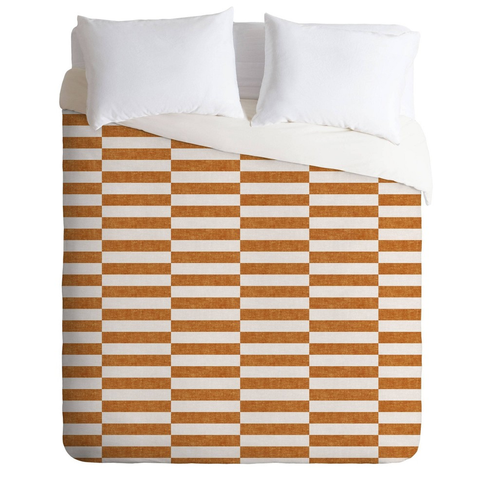 Compare Queen/Full Little Arrow Design Co Aria Rectangle Tiles Duvet Set  - Deny Designs