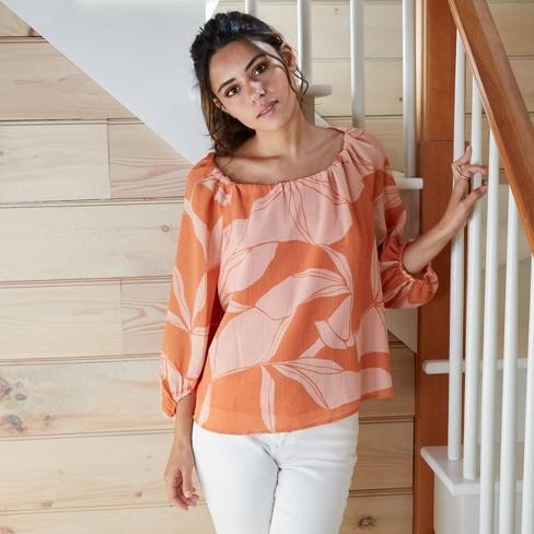 Women's Long Sleeve Chiffon Muse Blouse - A New Day™ - image 1 of 4