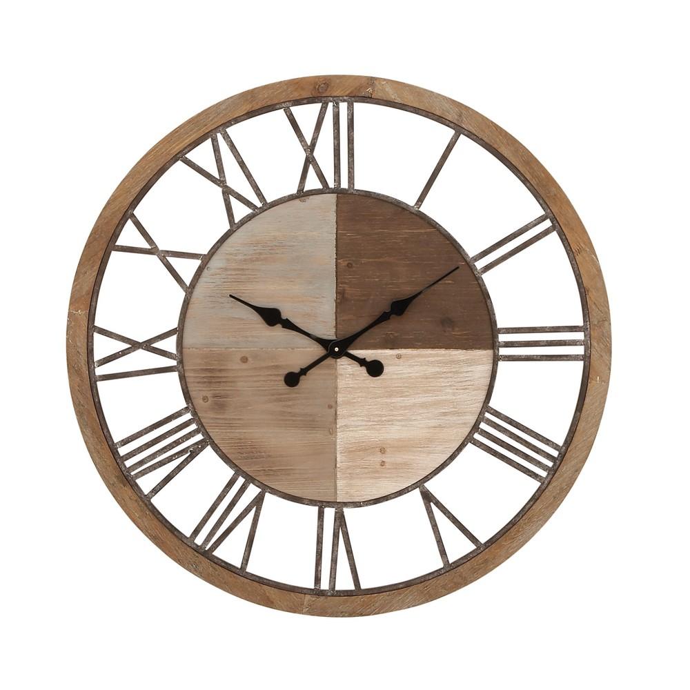 Image of Wood Rustic Metal Wall Clock 36 - Olivia & May