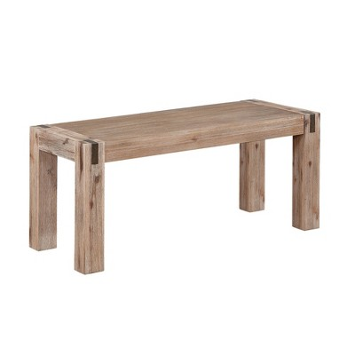 """40"""" Woodstock Acacia Wood with Metal Inset Wide Bench Brushed Driftwood - Alaterre Furniture"""
