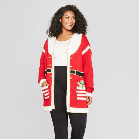 Womens Plus Size Christmas Santa Cardigan Ugly Sweater 33 Degrees