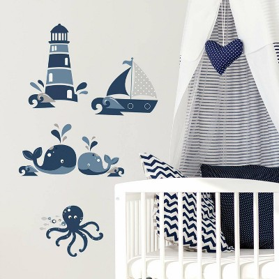 RoomMates Nautical Sea Friends Peel and Stick Wall Decal