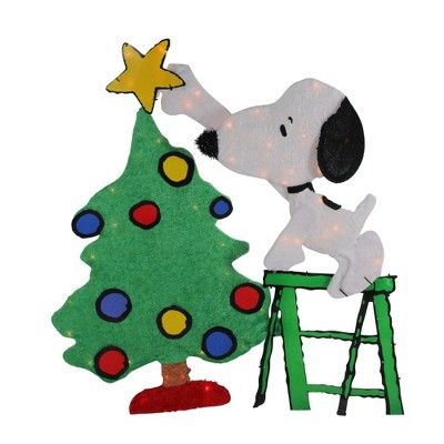 "Peanuts Christmas 32"" Prelit Snoopy Decorating Tree Outdoor Decoration - Clear Lights"