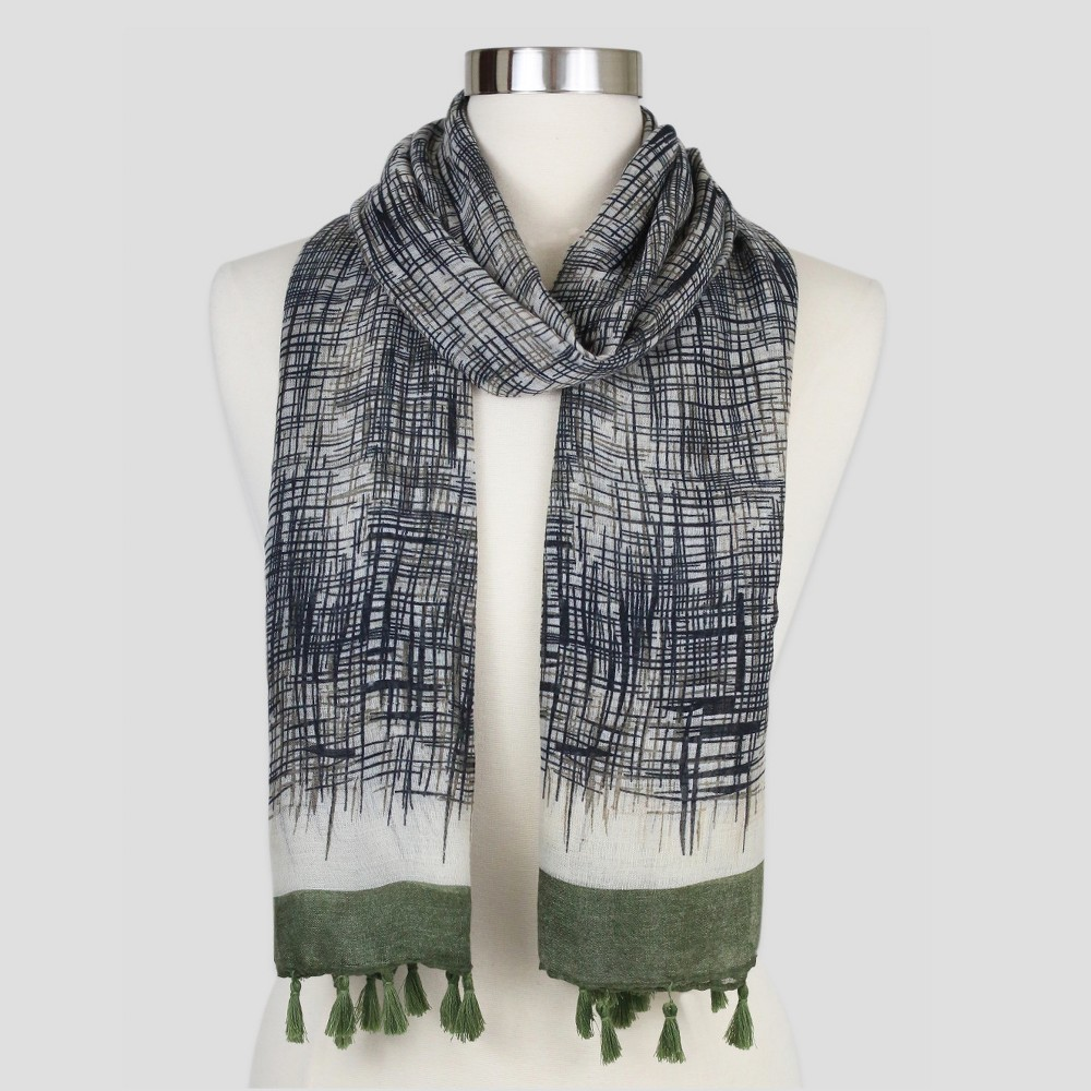 Women's Sylvia Alexander Scarf - Olive (Green) Stripe