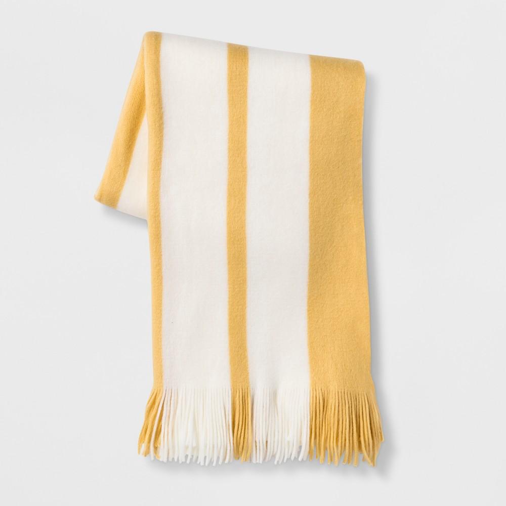 Cozy Stripe Throw Blanket Yellow/Cream (Yellow/Ivory) - Threshold