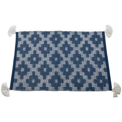 2'x3' Rectangle Hand Made Outdoor Woven Accent Rug Blue - Foreside Home & Garden