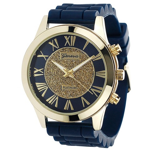 Women's Geneva Platinum Roman Numeral Silicone Strap Watch - Navy - image 1 of 3