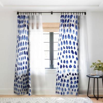 Irish Lehnhardt Painted Dots Blue Single Panel Sheer Window Curtain - Society6