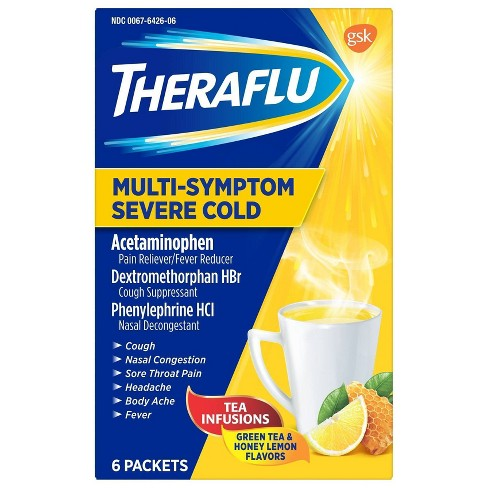 Theraflu Multi-Symptom Severe Cold Relief Powder - Acetaminophen - Green Tea & Honey Lemon - 6ct - image 1 of 4