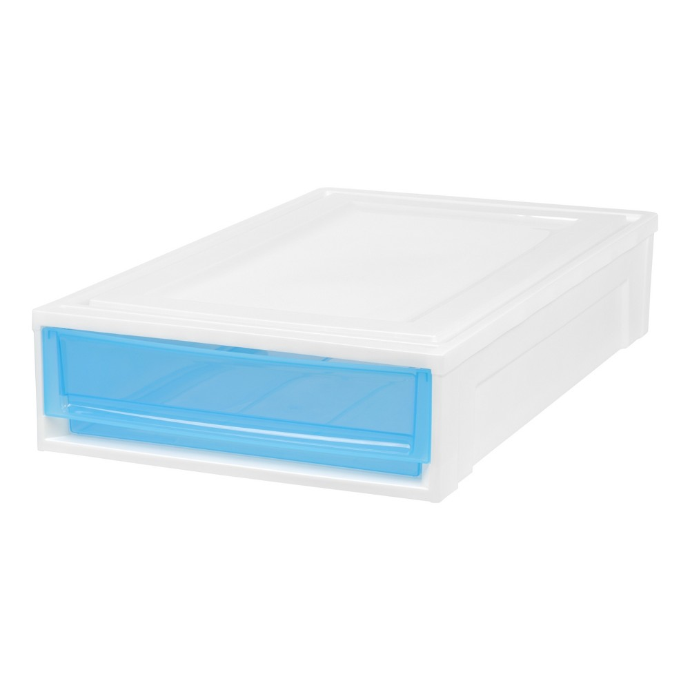 Iris Under Bed Stacking Plastic Storage Drawer - 2pk, White With Blue Doors