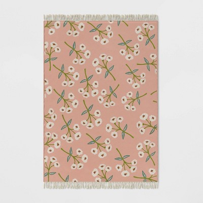 Floral Fringed Outdoor Rug Blush - Opalhouse™