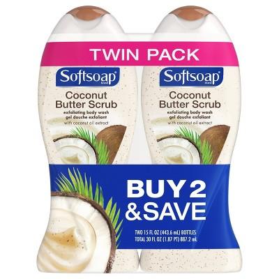 Softsoap Coconut Butter Scrub Exfoliating Body Wash 15 Fl Oz 2pk