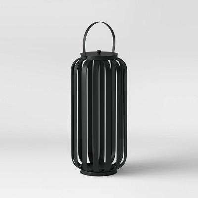 "20"" Large Metal Strip Outdoor Lantern Black - Project 62™"