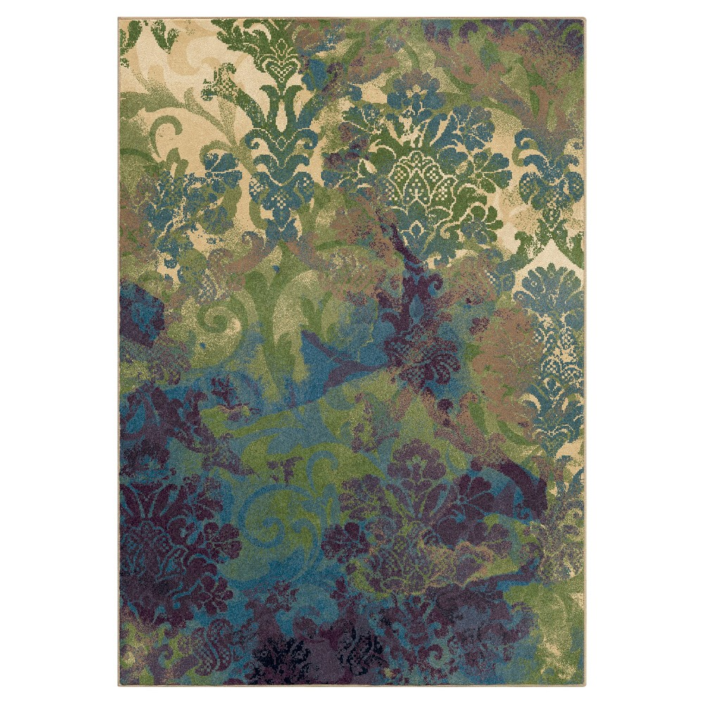 Bone (Ivory) Abstract Woven Area Rug - (5'3