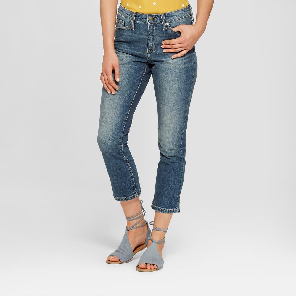 Women's High-Rise Wide Leg Kick Boot Crop Jeans - Universal Thread Dark Wash 2, Blue