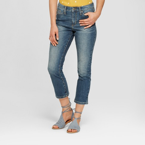 Women's High-Rise Wide Leg Kick Boot Cropped Jeans - Universal Thread™ Dark Wash 8 - image 1 of 3