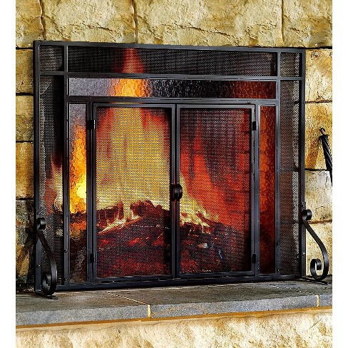 Plow & Hearth - 2-Door Steel Fireplace Fire Screen with Tempered Glass Accents, Black - image 1 of 2