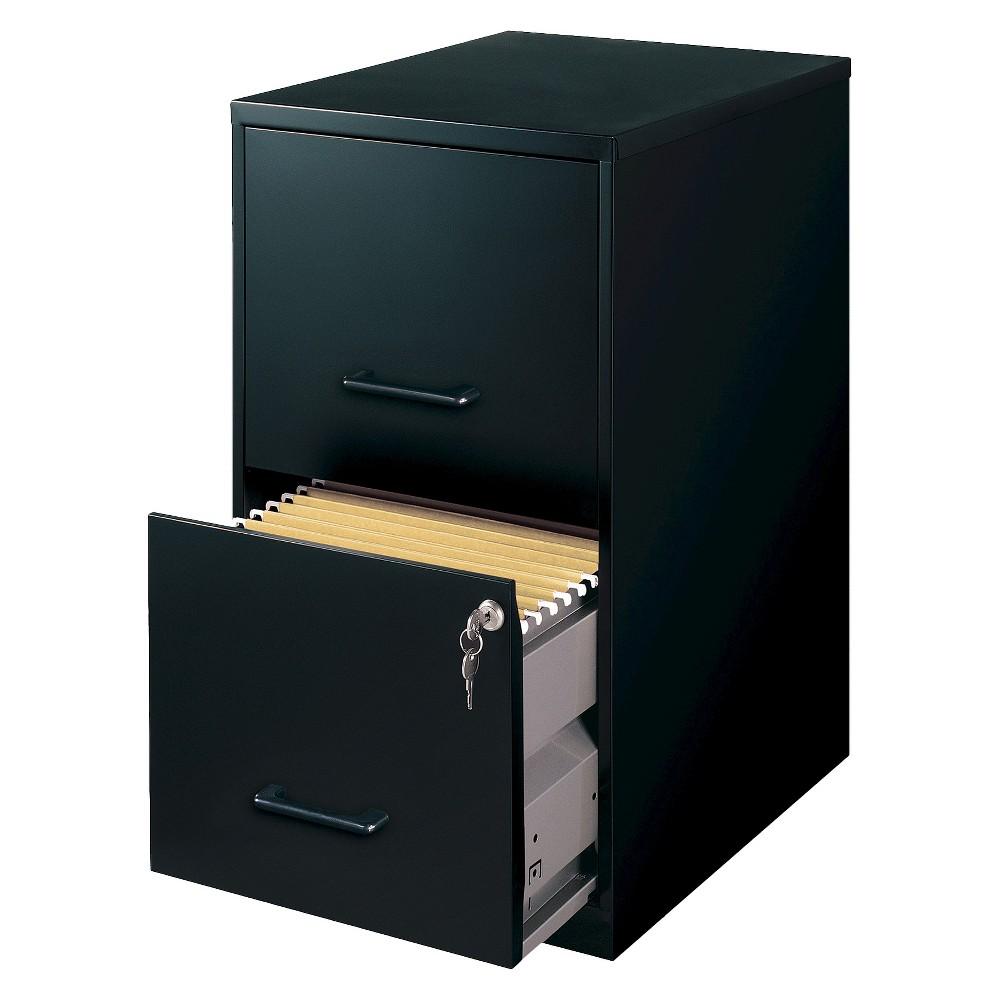 Image of HIRSH Black Vertical 2-Drawer Filing Cabinet Metal
