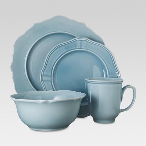 wellsbridge 16pc dinnerware set aqua threshold target