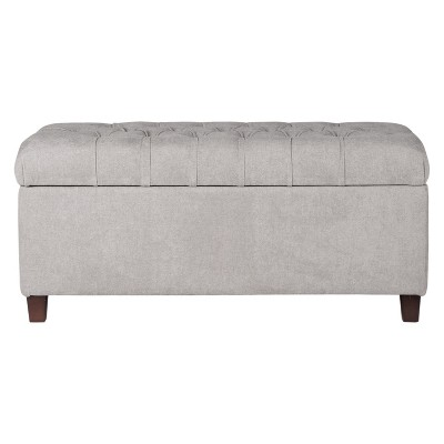 Ainsley Button Tufted Storage Bench - Silver Ash - HomePop