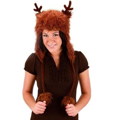 Elope Reindeer Faux Fur Hoodie Brown Adult Costume Hat One Size