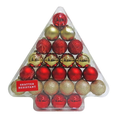 24ct 40mm Red/Gold Christmas Ornament Set - Wondershop™ - image 1 of 1