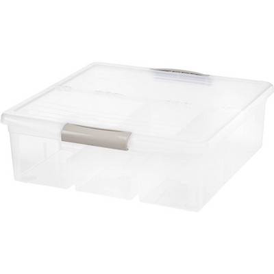IRIS Large Divided Media Storage Box Clear