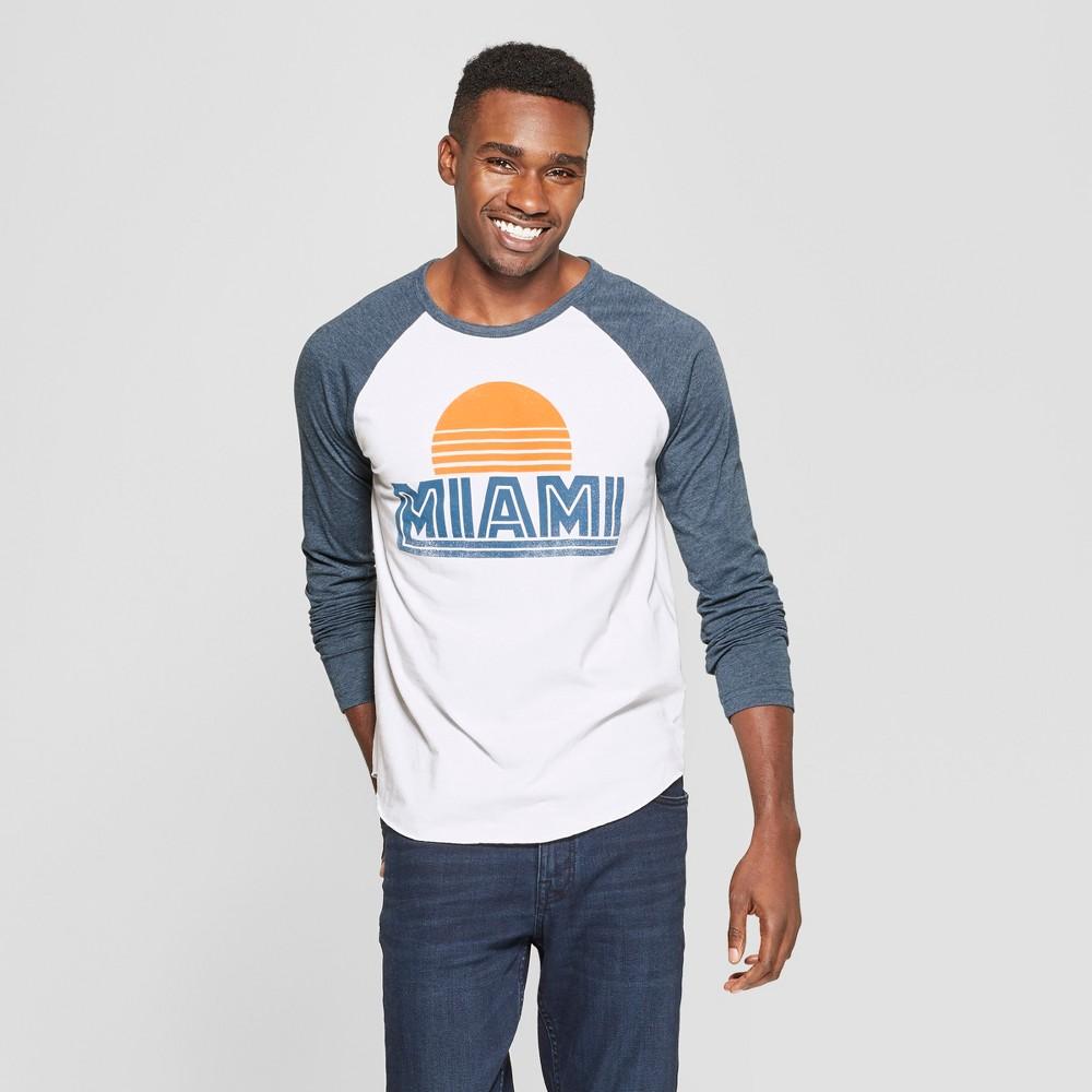 Men's Vintage Sun Long Sleeve Miami Raglan Graphic T-Shirt - Awake White S