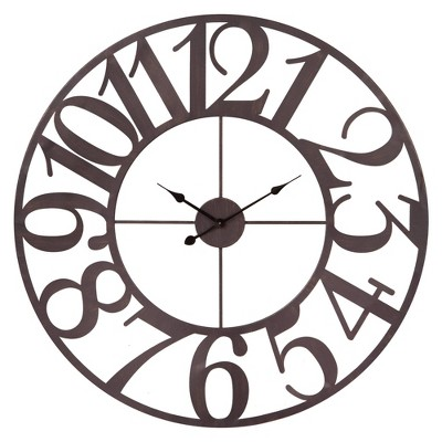 "40"" Oversized Metal Cut Out Wall Clock Bronze - Patton Wall Decor"