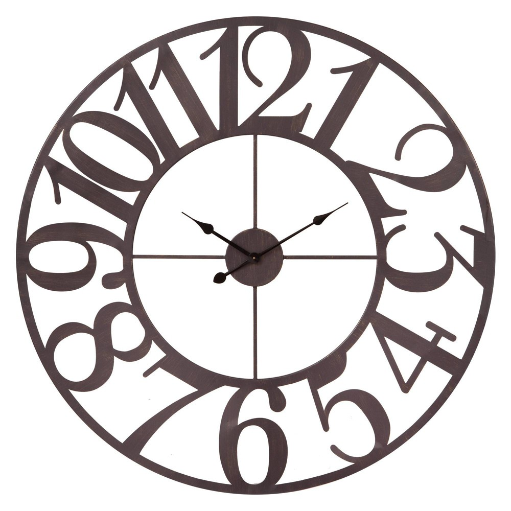 """Image of """"40"""""""" Oversized Metal Cut Out Wall Clock Bronze - Patton Wall Decor, Brown"""""""