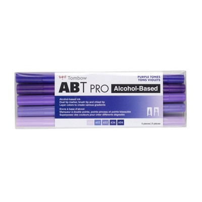5ct ABT PRO Dual-Tip Alcohol Based Art Markers Purple Tones - Tombow