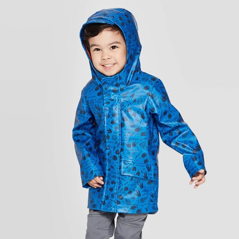 Toddler Boys' Fossil Print Rain Coat - Cat & Jack™ Blue - image 1 of 3