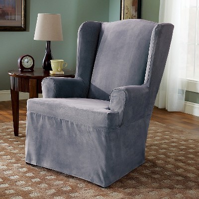 Soft Suede Wing Chair Slipcover Smoke Blue - Sure Fit, Grey Blue