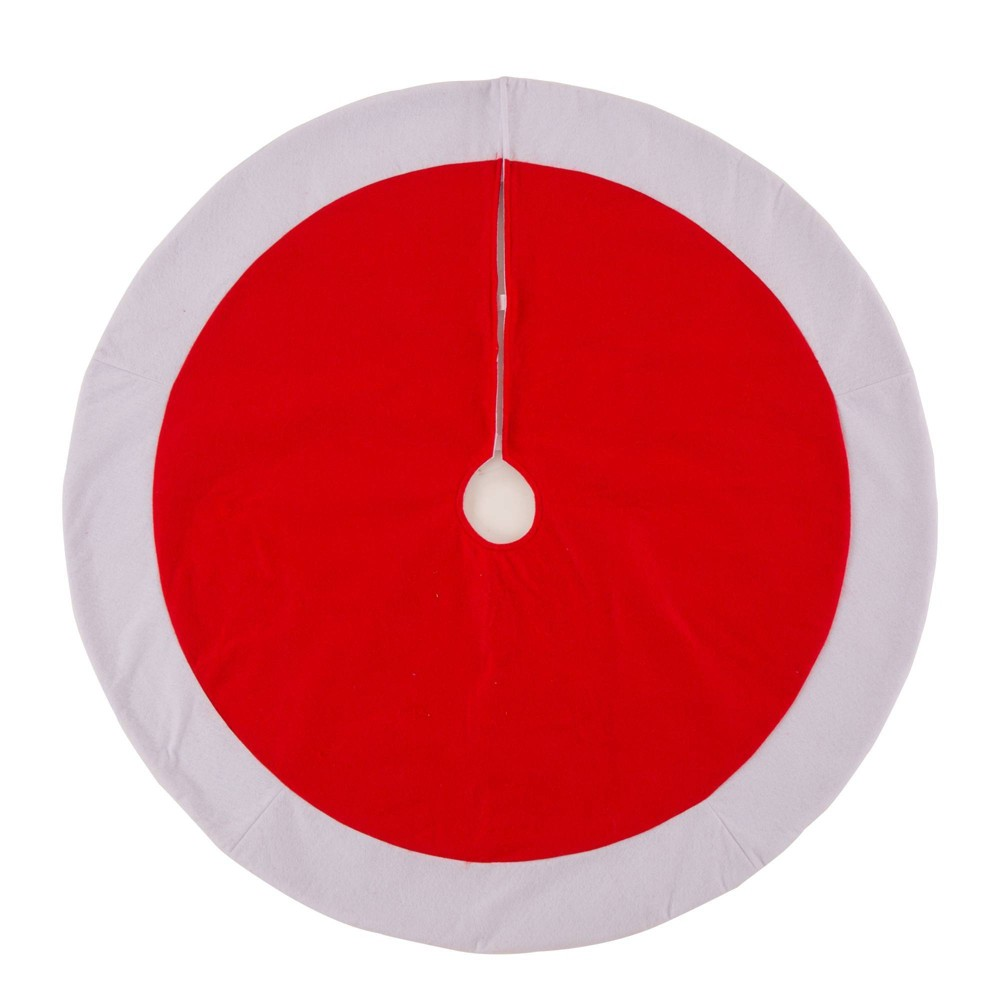 Image of 42ing Felt Christmas Tree Skirt Red and White - Glitzhome