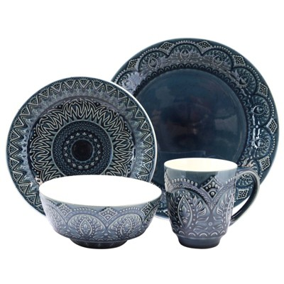 16pc Stoneware Mandala Embossed Dinnerware Set Blue - Elama