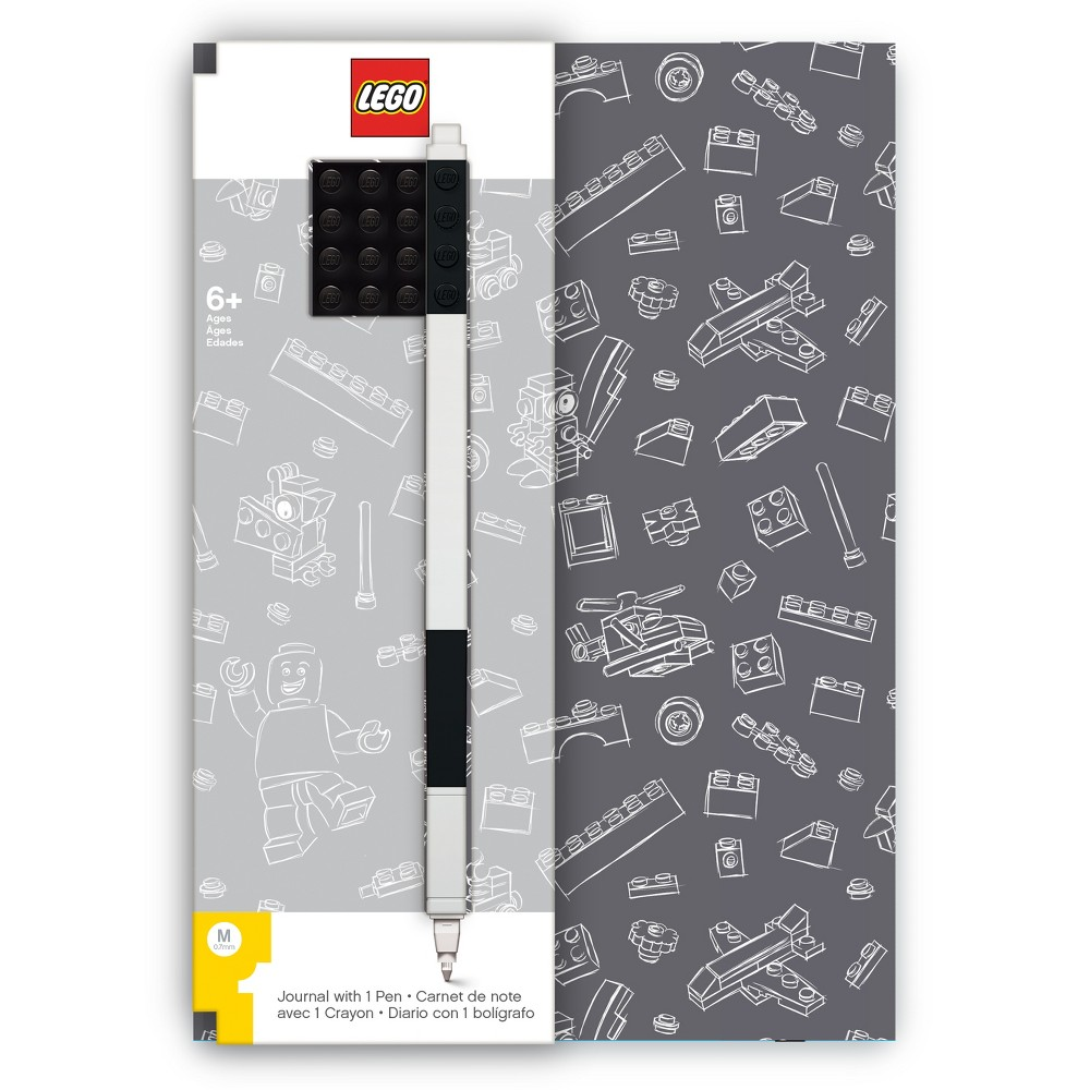Lego Grey Journal with Black Brick and Black Gel Pen, Multi-Colored