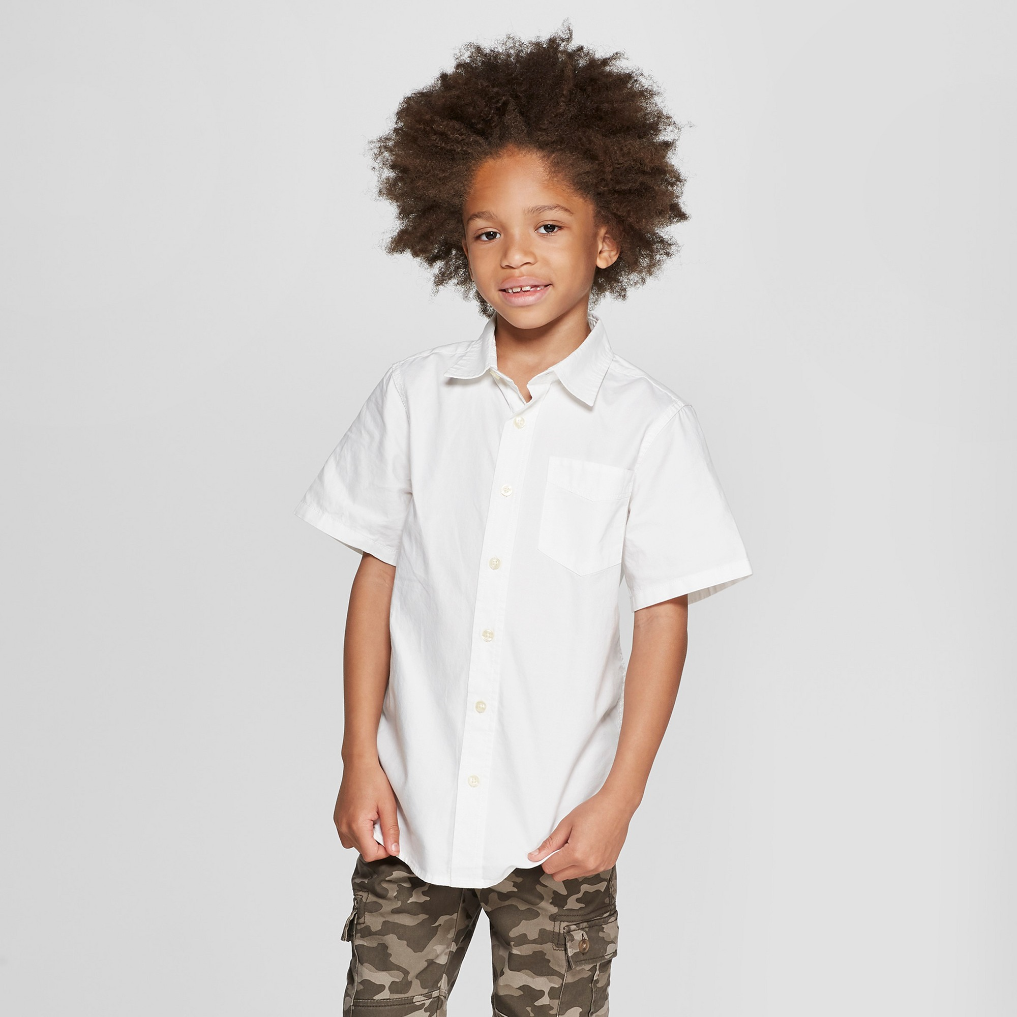 Boys' Short Sleeve Button-Down Shirt - Cat & Jack White XS, Blue