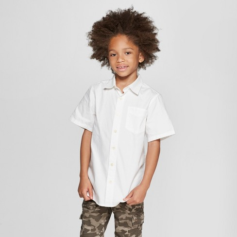 Boys' Short Sleeve Button-Down Shirt - Cat & Jack™ White - image 1 of 3