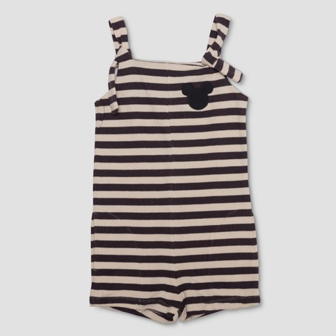 Junk Food Girls' Mickey Mouse Striped Romper - Black/White - image 1 of 2